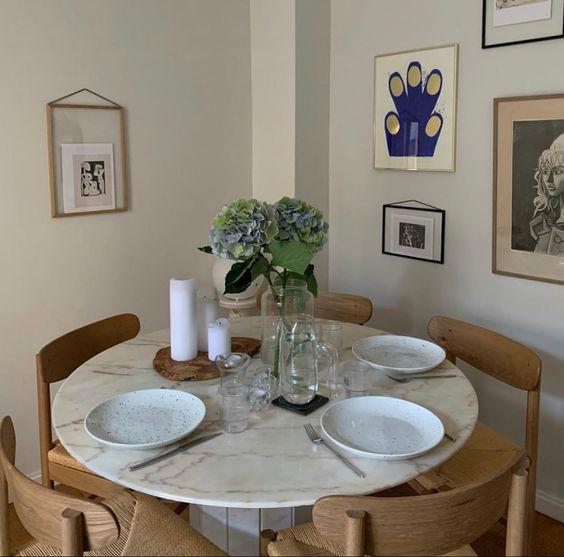 minimalist white dining room